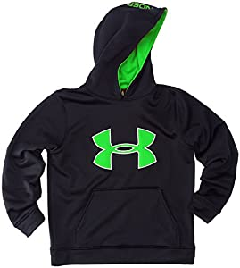 Under Armour Boys' Armour® Fleece Big Logo Pullover Hoodie (Large, Black/Green/White)