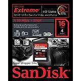 SanDisk Extreme Video HD - Tarjeta de memoria SecureDigital HC de 16 GB (Clase 10), negro