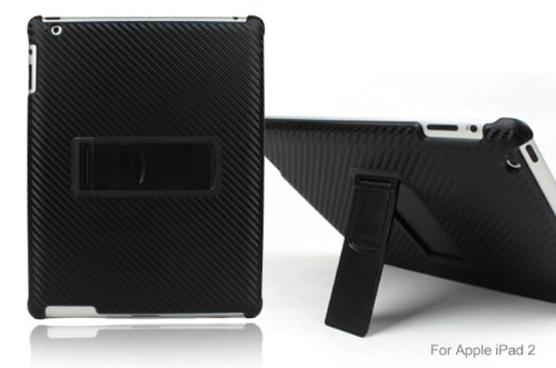 GreatShield Executive Series Carbon Fiber Fabric Back Cover Case with Stand for Apple iPad 2 2nd Generation - (Back Covers)