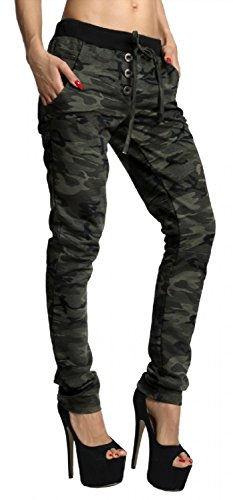 Zeta Ville - Treggings Mimetico Motive Coulisse Pantaloni Tasche - donna - 551z (Mimetico, IT 40/42, ONE SIZE)
