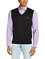 Gant Men's Cotton Wool Sweater (8907163410009_GMWGB13_Small_Charcoal Melange)