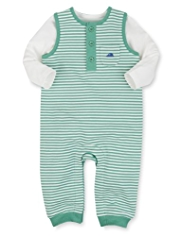 2 Piece Cotton Rich Striped Dungaree Outfit