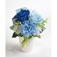 バラとリボンのアレンジメント【ブルー】