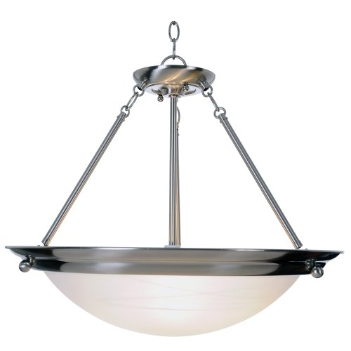 AF Lighting 560799 21-1/2-Inch W by 18-3/4-Inch H Lunar Bay Lighting Collection 3-Light Pendant, Brushed Nickel