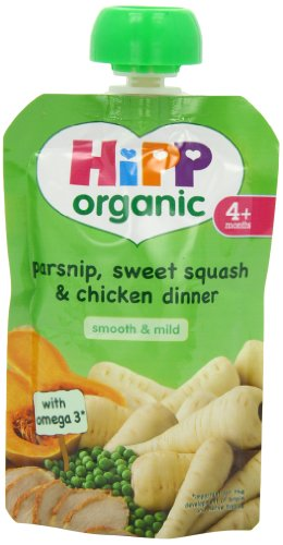 Hipp Organic Parsnip/ Sweet Squash/ Chicken Dinner Pouch Stage 1 from 4 Months 100 g (Pack of 2, Total 10 Pouches)