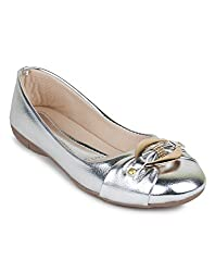 Bonzer Womens Synthetic Leather Silver Bellies 8 UK