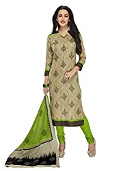 PShopee Light Green Cotton Printed Unstitched Salwar Suit Dress Material