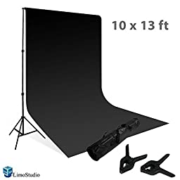 LimoStudio Photography Photo Background Support Set - 1 background support system, 1 black 10x13 ft muslin backdrop, 1 carry case, AGG416