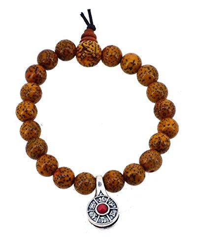 Tibetan Zen Bodhi Dyed Brown Daemonorops Seeds Prayer Beads Wrist Mala Bracelet with a Charm (Tibetan Mantra)