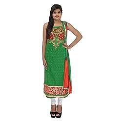 Kashish Creations Women Zari Green & Red Semi Stitched Salwar Suit