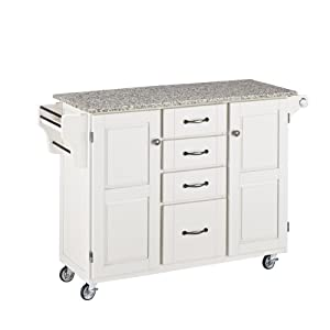 Home Styles 9100-1023 Create-a-Cart 9100 Series Cuisine Cart with Salt and Pepper Granite Top, White, 52-1/2-Inch