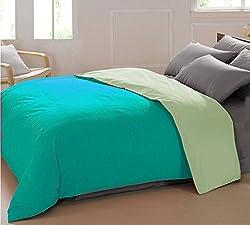 AURAVE Reversible Style Solid Plain Pista & Aqua Green Cotton Duvet Cover/ Quilt Cover -Single Size (Gift Wrapped)