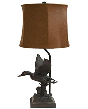 Rustic duck lamp with leatherette shade use up to 100 for 100 watt table lamps