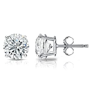 GIA Certified Platinum Round Diamond Stud Earrings 4-Prong (3.70 cttw, F-G Color, SI1-SI2 Clarity)