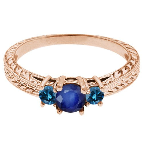 0.60 Ct Round Blue Sapphire Diamond 18K Rose Gold 3-Stone Ring
