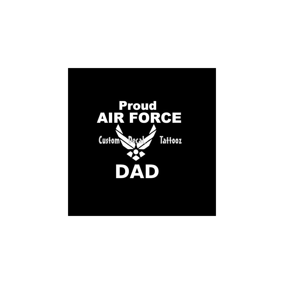 """Proud Air Force Dad Car Window Decal Sticker White 5"""" Automotive"""