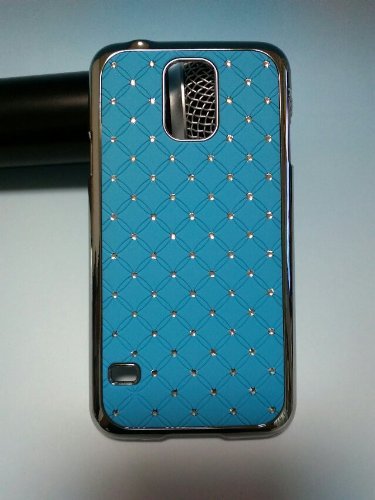 Maclogy 2014 Latest Fashion Design Luxury Dazzling Rhinestones Shiny Crystal Diamond Plating Protective Shell Trapped Difficult Cases Samsung Galaxy S5 I9600 And Fashion Chain Crystal Ornaments Color Uv Radiation Gifts (Azure)