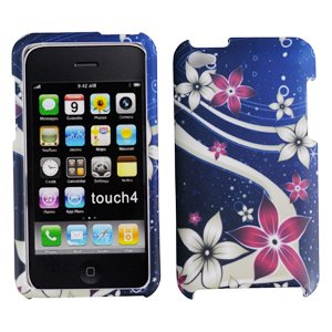 Musical Red and White Flower with Blue Space Sky Rubber Texture Apple Ipod Touch 4 / 4th / 4G / itouch Gen Generation 8GB 16GB 32GB Snap on Mp3 Case + Microfiber Bag