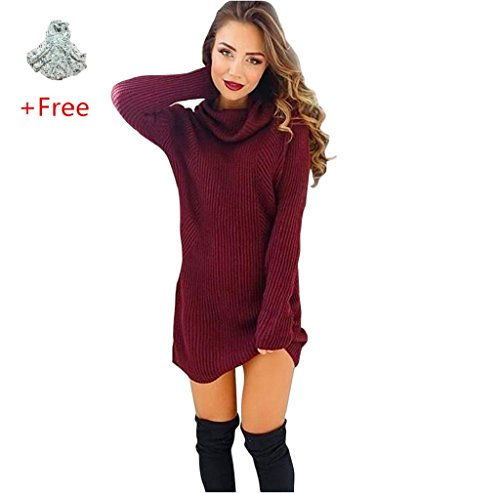 High-necked Sweater Dress,Morecome Womens Casual Long Sleeve Jumper Turtleneck Sweaters (S)