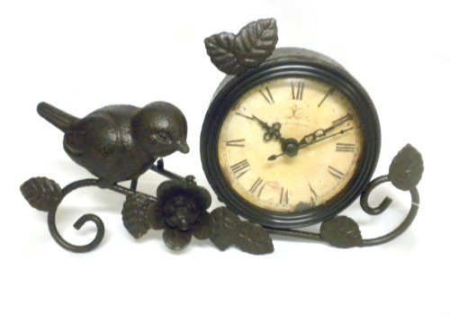 Shabby Chic Antiqued Metal Mantle Clock With Bird And Flower Decor