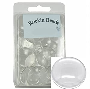 Rockin Beads Brand, 20 Clear Glass Dome Tile Cabochon Clear 30mm 1-1/4 Inch Non-calibrated Round