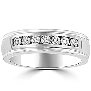 0.66 ct Men's Round Cut Diamond Wedding Band in Platinum In Size 7