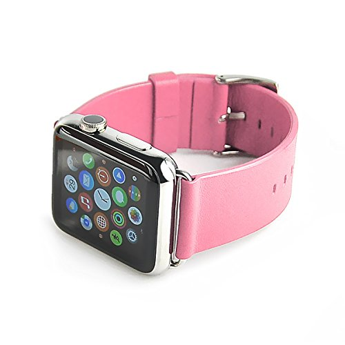 0d4b1155d Classical Buckle Genuine Leather Watchband Strap for Apple Watch 38 mm -  Pink