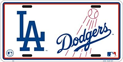 Los Angeles Dodgers White Metal License Plate