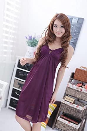 上品な スリップ 後姿が魅力的 セクシー ネグリジェ ナイトウェア ルームウェア インナー パープル 紫