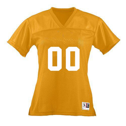 Customized Gold/Yellow Ladies Large V-Neck Football Replica Jerseys (Personalized Front and Back Custom Tee) (Custom Football Jersey compare prices)