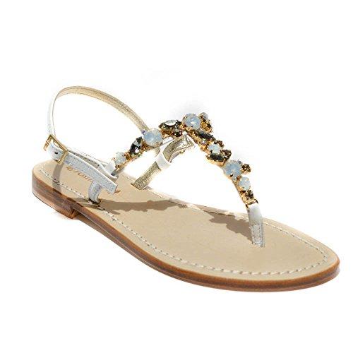 DG Positano sandalo gioiello donna pelle bianco made in italy tacco1cm art.47...