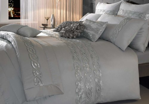 Sequins Wave Silver Quilt Cover Size: King