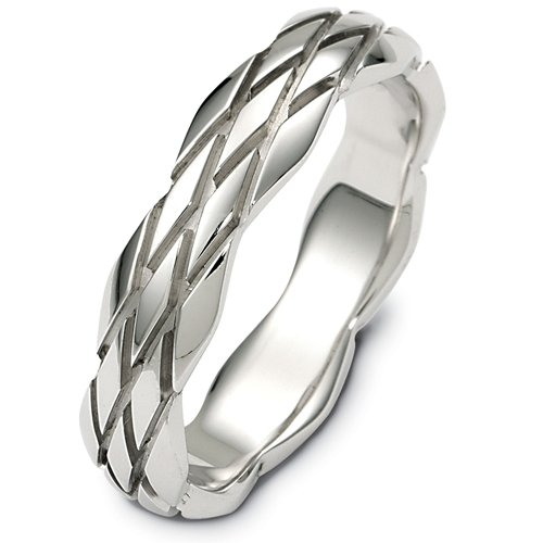10K White Gold, Modern Braid 5.5MM Wedding Band (sz 12.5)