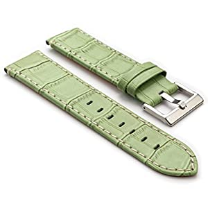 StrapsCo Green Premium Crocodile Embossed Flat Leather Watch Strap in Size 16mm
