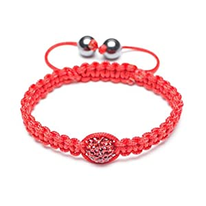 Bling Jewelry Childrens Shamballa Inspired Bracelet Red Ruby Color Crystal 10mm