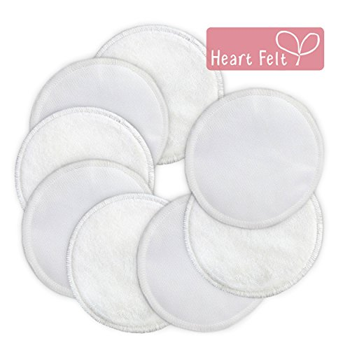 Nursing Pads, Reusable Bamboo Breast Pads (8 Pack) By Heart Felt. Enjoy Soft, All-natural Bamboo Against Your Skin, with Absorbent Mid-layer and Water-resistant Outer to Prevent Leaks. Maximum Comfort and Confidence. Four Pairs (8 Total) of Plain White Washable, Reusable Cloth Breastfeeding Pads. Stop Embarrassing, Soggy Leaks!