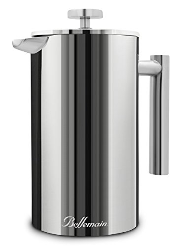 Bellemain French Press - Double Wall Pot Keeps Coffee Warm - Coffee and Tea Maker - Stainless Steel - 35 fl. oz. - 2-Year Warranty