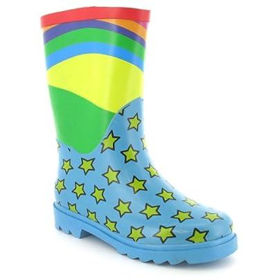 Girls Rainbow Wellington Boots/Wellies - Blue/Multi - UK 10-3