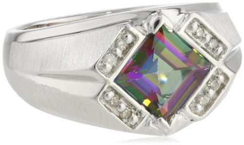 Men's Sterling Silver Mystic Fire Topaz and Diamond Gents Ring (0.1cttw, J-K Color, I3 Clarity), Size 10.5