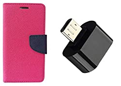 Novo Style Book Style Folio Wallet Case MicromaxCanvas Spark Q380 Pink + Little Adapter Micro USB OTG to USB 2.0 Adapter for Smartphones & Tablets