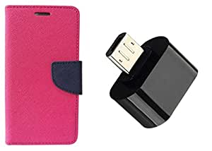 Novo Style Book Style Folio Wallet Case Apple iPhone 6 Pink +  Little Adapter Micro USB OTG to USB 2.0 Adapter for Smartphones & Tablets