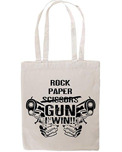 Rock Paper Scissors Gun Win Funny Tote Shopping Bag