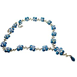 DIY Jewelry Making T145 Leafy Pearl Necklace Jewelry Making Kit - Blue Pearls