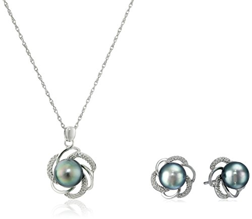 Sterling Silver, Tahitian Cultured Black Pearl, and Diamond Pendant Necklace &  Earrings