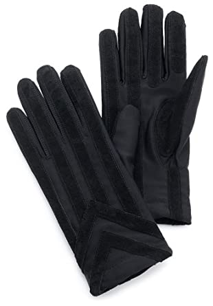Isotoner Men's Spandex Glove With Suede Palm Strips,Black,Medium/Large
