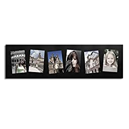 Adeco Decorative Black Wood Wall Hanging Collage Picture Photo Frame, 6 Openings Slanted Tilted Skewed, 4x6\