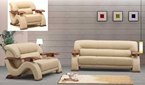 7. 3ps NEW CONTEMPORARY ITALIAN LEATHER SOFA SET 2033BEIGE ...