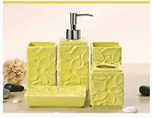 Bathroom accessory sets nordic style pale for Yellow bathroom accessories sets