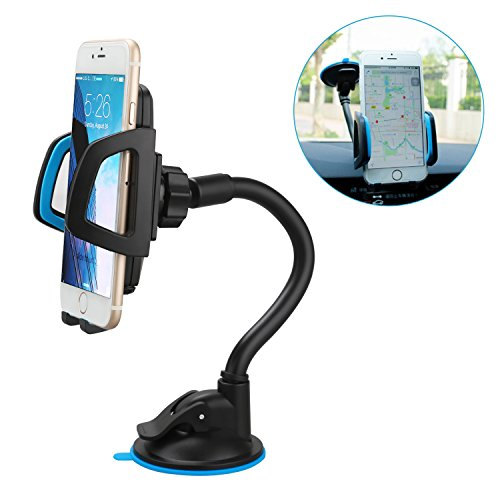 Car Mount Universal Windshield Cell Phone Holder Cradle Flexible 360 Rotating with Suction Cup Car Accessories for almost Smartphone - iPhone 7 7Plus NOTE 7 S7 LG HTC up to 7 inches Device - Blue