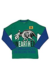 Poppers by Pantaloons Boy's Round Neck T-Shirt (205000005613311, Green, 9-10 Years)